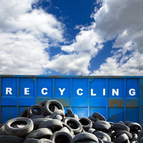 Recycling container and tires