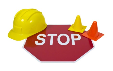 Stop Sign with Hard Hat