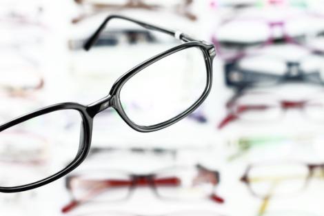 A pair of modern medical eyeglasses