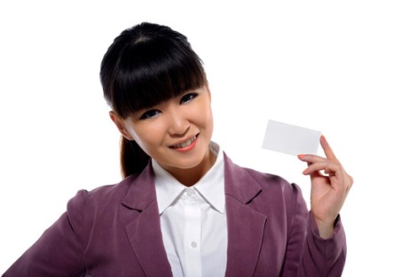 Asian Business Woman Showing Name Card